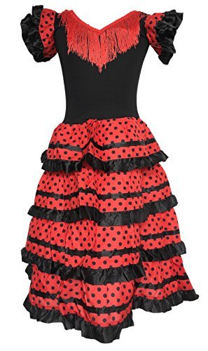 La Senorita Spanish Flamenco Dress Fancy Dress Costume - Girls/Kids - Black/Red (Size 18-14 -16 Years, Black red)]()