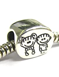 .925 Sterling Silver Brother & Sister/Boy & Girl Family Bead for European Chamilia Biagi Troll Pandora Charm Bracelets