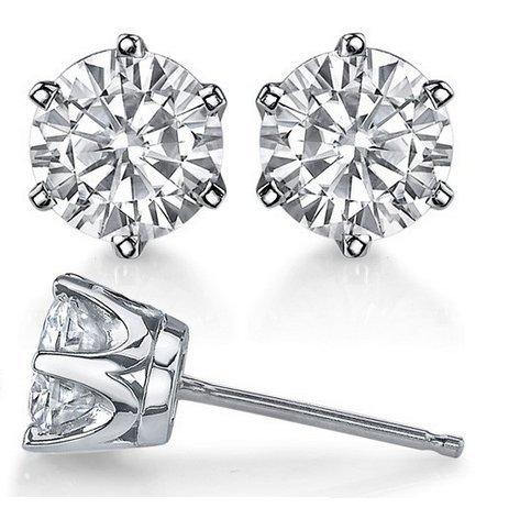 Gowe moissanites Diamant Boucles d'oreilles or 14K Total 0.8carat Total Lab Cultivées moissanites classique à 6branches Diamant Boucles d'oreilles à tige