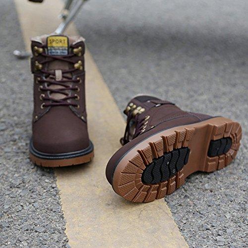 Skateboard en Botte de Marron Cuir Neige Hiver Femme Baskets Chaudement Randonnée Boots Chaussures Homme Mode Bottes Lijeer Et wxqv1a1