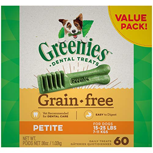 GREENIES Grain Free Petite Natural Dog Dental Care Chews Oral Health Dog Treats, 12 oz. Pack (60 Treats)