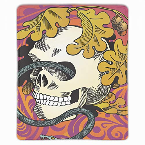 (Human Skull Entwined by Snake Mouse Pad Non-Slip Rubber Base Mousepad for Laptop, Computer & PC)