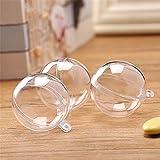 KINJOHI 4PCS Transparent Plastic Fill-able Ball Ornament Hollow Sphere Ball Christmas Decorations