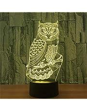 3D LED Nachtlampje Spirituele Uil Action Figuur 7 Kleuren Touch Optische Illusie Tafellamp Woondecoratie Model