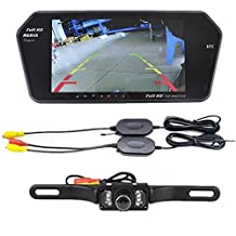 """Eaglerich 7"""" TFT Bluetooth Mirror Camera mp5+Long Plate Night Vision Rearview Monitor+Wireless Transmitter Receiver Kit"""