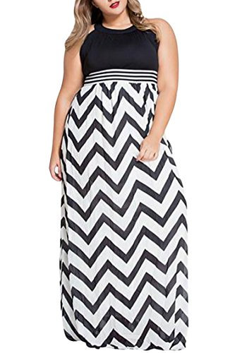 Womens Plus Size Empire Waist Chevron Zigzag Floor Length Maxi Dress 4XL Black