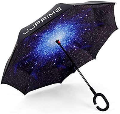 London Bridge Inverted Umbrella Windproof Reverse Double Layer Travel Umbrella with C Shape Handle