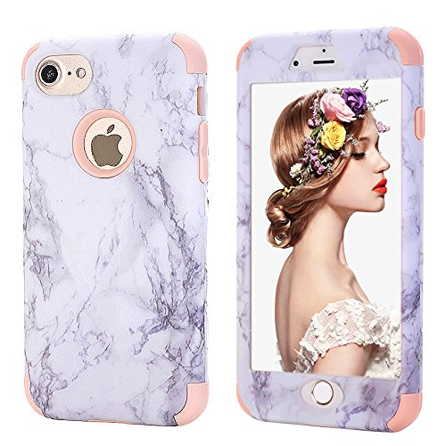 iPhone 7 Stone Case,Kudex Slim Shockproof Stone Marble Classic Grip Design Anti-Fingerprint Protective Case Flexible Snap Case with Clear Bumper for iPhone 7 4.7 Inch (Rose-Gold) ()