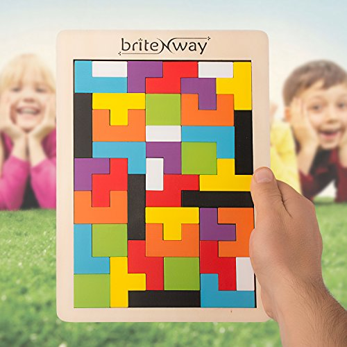 Fun & Educational Wooden Tetris Puzzle Toy For Toddlers & Preschoolers – Colorful, Safe & Stimulating Wood Block Puzzle Game Set, Promotes Essential Early Development Skills – Perfect Kids Gift Idea -