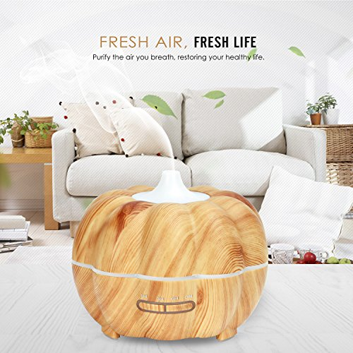 MoKo 300ML Ultrasonic Air Humidifier, Pumpkin Aromatherapy Essential Oil Diffuser with Warm White Night Light Waterless Auto-Off for Office Home Bedroom Room Study Yoga Spa - Wood Color by MoKo (Image #1)