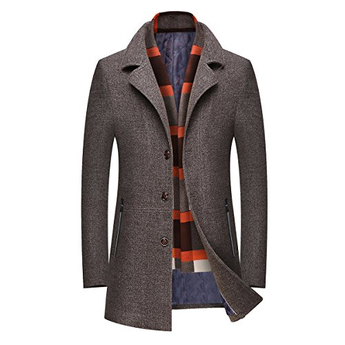 Mirecoo Men's Elegant Winter Warm Short Woolen Coat Business Jacket with Free Detachable Soft Touch Wool Scarf