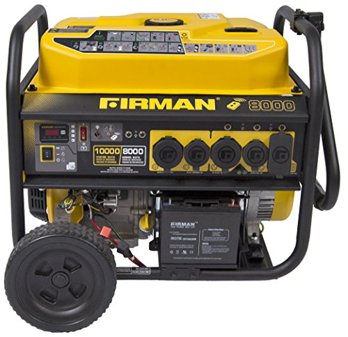 Firman P08003 10000/8000 Watt 120/240V 30/50A Remote Start Gas Portable Generator CARB Certified, Black ()