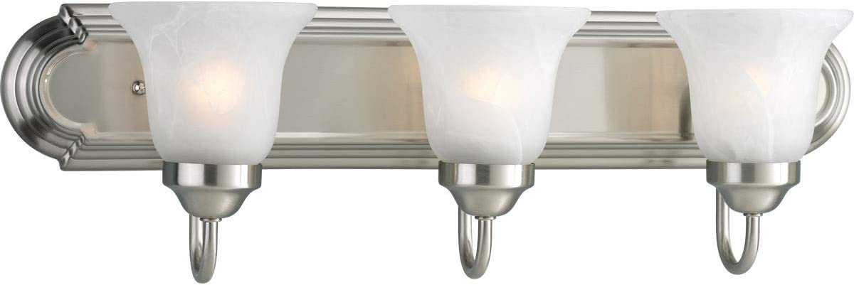 Progress Lighting P3053-09 3-Light Bath Bracket, Brushed Nickel