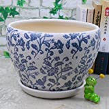 Ceramic Large and Fat Flower Planter Pot with Saucer/ Tray, with Blue Flower Pattern Review