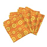 Orange Retro Stripe Funky Citrus Stripes Organic Sateen Dinner Napkins Solar Blossoms by Robyriker Set of 4 Dinner Napkins