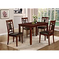 Home Source H-40220-5 7-Piece Davis Collection Asian Hardwood Dining Set, 30 x 60 x 36, Black