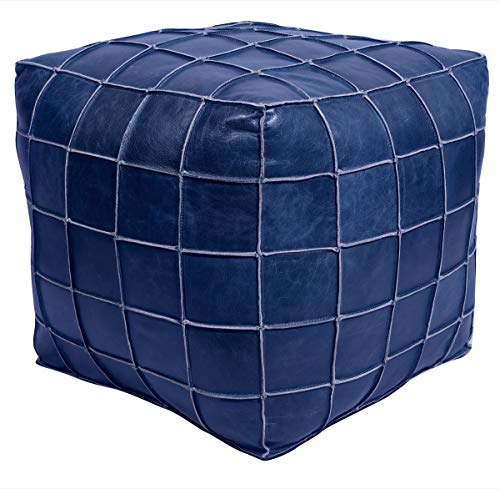 Mohr and McPherson 18 inch Square Leather upholstered Patchwork Pouf or Ottoman in Dark Blue Finish