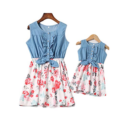- Mommy and Me Denim Floral Print Sleeveless Skirt Dresses Mother Daughter Dress Outfits (M, White-Mom)