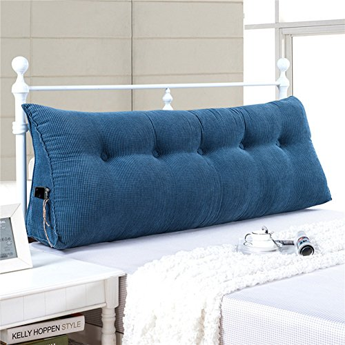 WOWMAX PP-Cotton Filled Triangular Wedge Pillow Positioning Support Reading Backrest Cushion for Sofa Bed Day Bed and Upholstered Headboard with Removable and Washable Cover Jean Blue 39x7.9x19inch