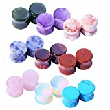BodyJ4You 18PCS Stone Ear Plugs 0G (8mm) Double Flare Saddle Stretching Gauges Expander