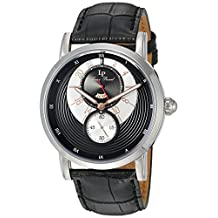 Lucien Piccard Men's 'Santorini' Quartz Stainless Steel and Leather Automatic Watch, Black (Model: LP-40043-01-RA)