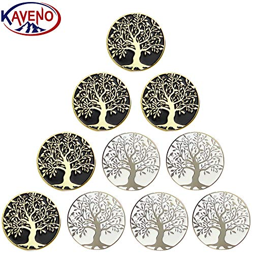 kaveno Golf Ball Marker Series, Assorted Design, Pack of 5/10/20 (Tree of Life - 10PCS)