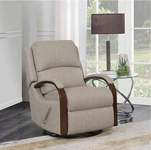 - Swivel Glider Recliner with Neutral Colored Fabric and Hardwood Frame in Brown Finish