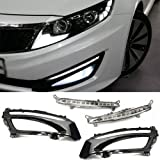 iJDMTOY Xenon White High Power LED Daytime Running Light DRL Lamps w/ Painted Glossy Black Bezel Cover Set For 2011 2012 2013 Kia Optima