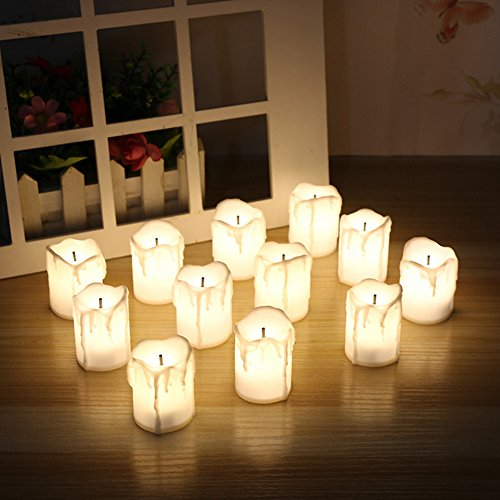 Warm White Battery-Powered LED Flameless Fake Tea Light Candle For Wedding/Christmas/Party Decoration,Set of 12