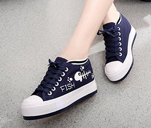 En Bleu Remise De Plus Dames Chaussures De Lacets 2 Foncé Plus En Baskets Forme Hauteur Vecjunia Toile forme Plate En Travail En OOx8Z4w6H