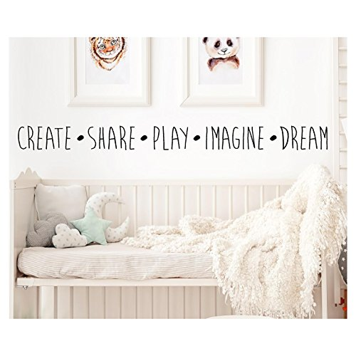 Sticker Decal Wall Lettering (Create Share Play Imagine Dream Vinyl Lettering Wall Decal Sticker (4