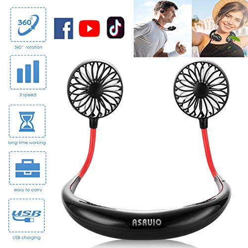 ASRUIO Hands Free Personal Fan Rechargeable USB Portable Fan Wearable Neckband Sports Cooling Fan Battery Operated Dual Wind Head Adjustable Fan for Traveling Sporting Office Home