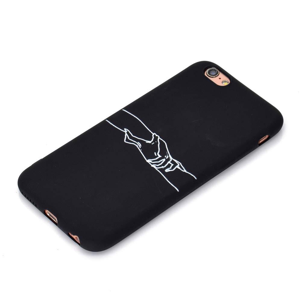 Rongecr Funda Negro con iPhone 6s Plus Tomados de la Mano Carcasa Silicona TPU Suave Ultra Delgado Flexible Antideslizante Patr/ón Noble iPhone 6 Plus Soft TPU Case
