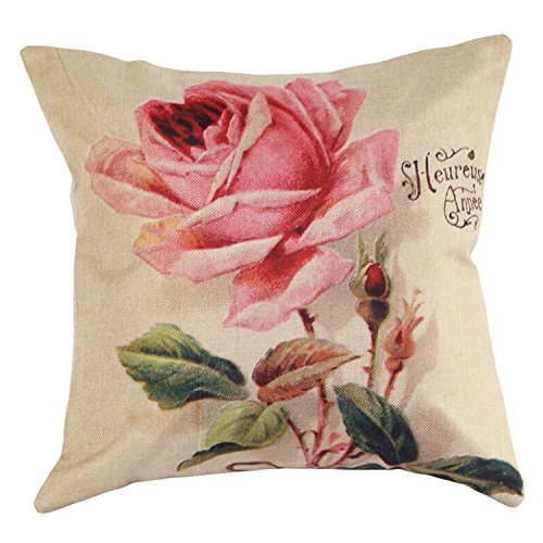 BulzEU Funda Cojines Rosa Patrón de Flores Funda de Cojín Decorativos para Cama Sofá Hogar Coche Sillas