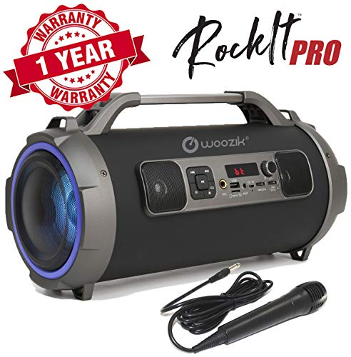 Woozik Rockit Pro Bluetooth Speaker, Indoor Outdoor Wireless Boombox with FM Radio, and Micro SD Card, USB, MIC, and Aux 3.5mm Support, Microphone for Karaoke Machine, Party, LED Lights and Subwoofer
