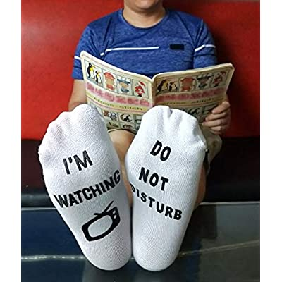 'Im Watching TV' Funny Novelty Socks - Great Gift For Those People Who Love A Good TV! (White-TV): Clothing