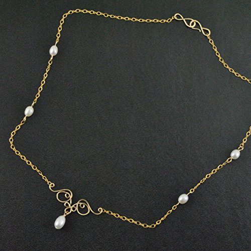 Delicate Necklace Artisan Handcrafted in 14K Gold Filled with White Cultured Freshwater Pearls