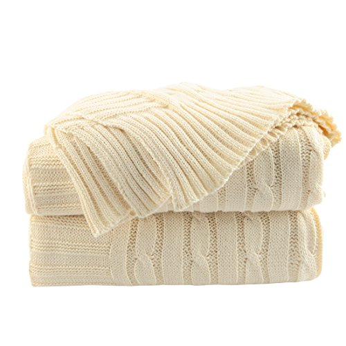 uxcell 100% Cotton Knitted Throw Blanket Soft Warm Cable Knit Throw Rug Decorative Blanket for Sofa/Couch/Bed,Beige,47 x 70 Inches
