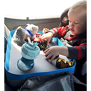 Kids Travel Tray - Car Seat Lap Tray for Children & Toddlers - Perfect Activity Snack & Play Tray for Short Road Trips or Long Journeys - blue