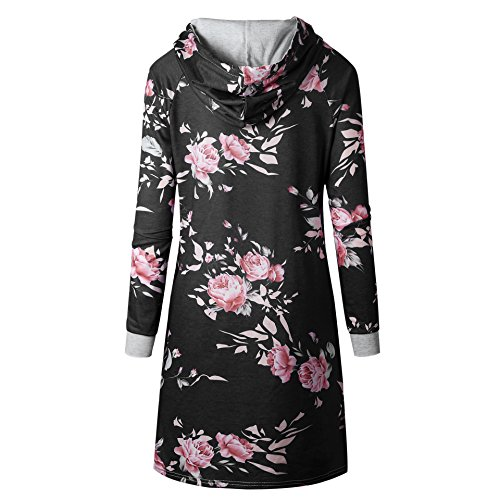 Xuan2Xuan3 Flower Women Pullover Thin Casual Long Black Hoodies Sweatshirts Print s rnrFCPq