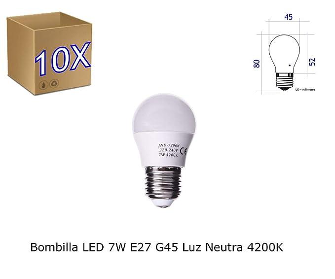 Jandei - Pack de 10 Bombillas LED Globo G45, Casquillo E27, 7W, Luz