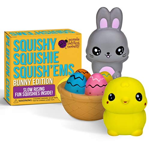 Purple Ladybug Novelty Slow Rising Easter Bunny & Friends Jumbo SQUISHIES Pack in Gift Worthy Box: Bunny, Chick, & Easter Basket Kawaii Soft Squishy Toys & Bonus Stickers Come with The Squishys!