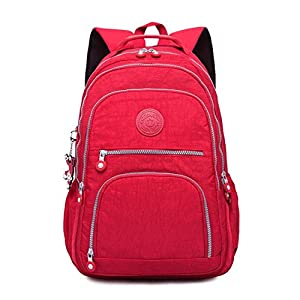 Backpack for Teenage Girls Women School Backpacks Nylon Waterproof Casual Laptop Bagpack Female Red 27CMX13CMX37CM 1368