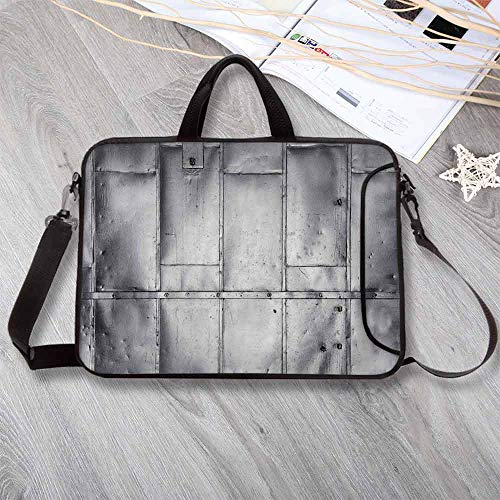 Industrial Stylish Neoprene Laptop Bag,Steel Panels Industrial Wall Theme Aluminum Background Futuristic Engineering Print Decorative Laptop Bag for Business Casual or School,8.7'L x 11'W x 0.8'H