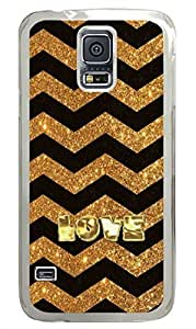 Golden Love PC Transparent Hard Case Cover Skin For Samsung Galaxy S5 I9600