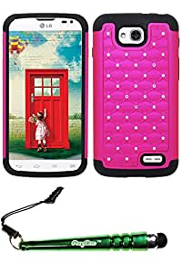 FoxyCase(TM) FREE stylus AND For LG Optimus L90 (T-Mobile) - Rubberized Star Diamond Pattern with Silicon Combo Case Cover Protector Hot Pink ST