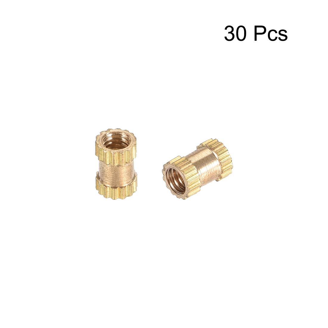L Messing OD x 3.2mm sourcing map 30 St/ück R/ändelmutter Gewindeeinsatzmuttern M2 x 4mm