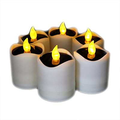 Little bees 6 Pcs Solar Candles Outdoor LED Waterproof Romantic Electric Tealights Fake Candles Solar Emergency Night Light for Camping Traveling Home Party Decoration: Home Improvement