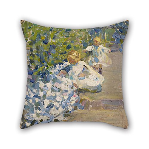 Slimmingpiggy Oil Painting Helen Galloway McNicoll - Sketch For 'Picking Flowers' Throw Pillow Case 20 X 20 Inches / 50 By 50 Cm Gift Or Decor For Wife,floor,deck Chair,wedding,car,living Room -