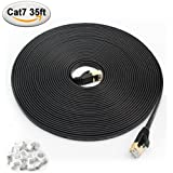 MEALINK Cat 7 Ethernet Cable 35 ft Fastest FTP Shielded Lan Cable with Gold Plated Connectors Patch Cord-35 ft Black (10.67 Meters) and 10 Cable Clips